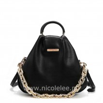 POUCH GOLD CHAIN EMBELLISHED BAG BLACK