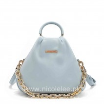 POUCH GOLD CHAIN EMBELLISHED BAG BLUE