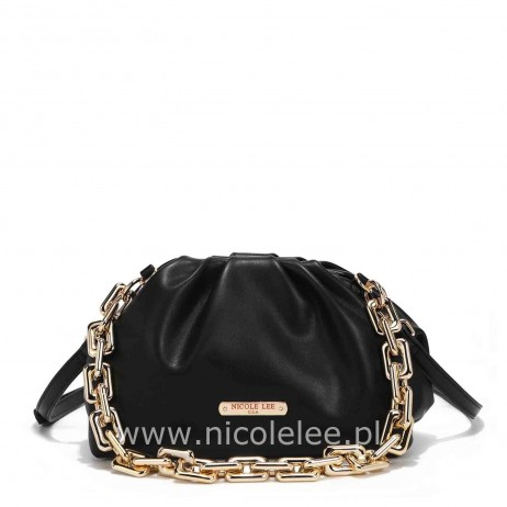 POUCH GOLD CHAIN EMBELLISHED CLUTH BLACK