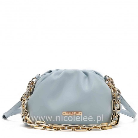 POUCH GOLD CHAIN EMBELLISHED CLUTH BLUE