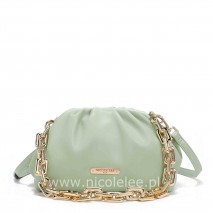 POUCH GOLD CHAIN EMBELLISHED CLUTH GREEN