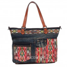 ERLA DENIM BOHEMIAN SHOPPER BAG