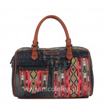 ERLA DENIM BOHEMIAN BOSTON BAG
