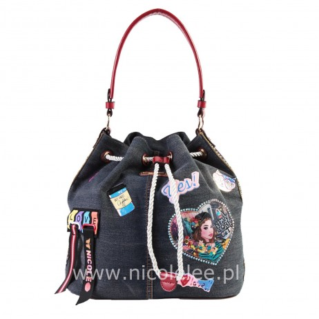 FASHION PRINT DENIM DRAWSTRING HANDBAG