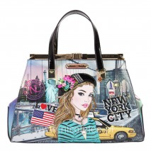 IVETTE POSES ON NY SUNSET SATCHEL BAG