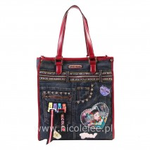 FASHION PRINT DENIM SHOPPER BAG