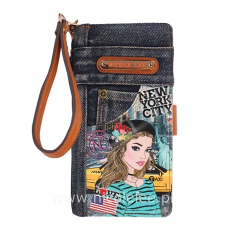 IVETTE POSES ON NY SUNSET DENIM WALLET