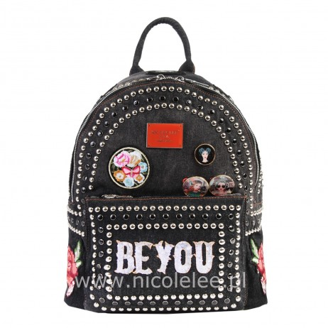 BLACK JEANS PATCH BACKPACK