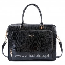 FAUX CROC LEATHER BLACK BRIEFCASE