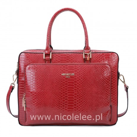 FAUX CROC LEATHER RED BRIEFCASE